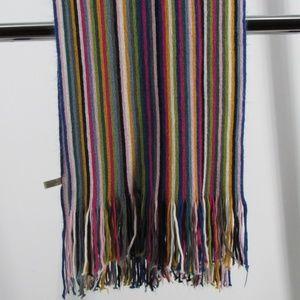 Mini-Stripe Colorful Acrylic Scarf w/ Fringe Edges
